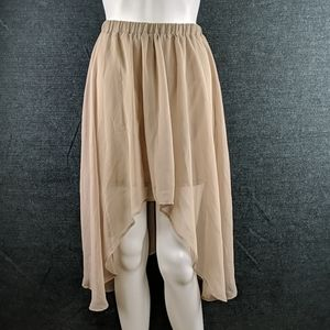 Last Chance! Staccato Nude Color Sheer Hi-Lo Skirt